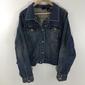 Torrid Stretch Cropped Jean Jacket Size 4 4X 26